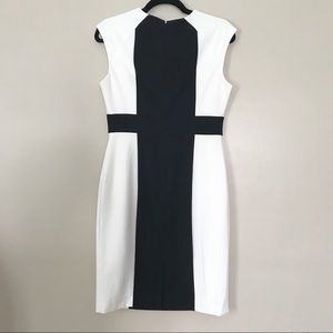 Calvin Klein Black Ivory Color-block Sheath Dress